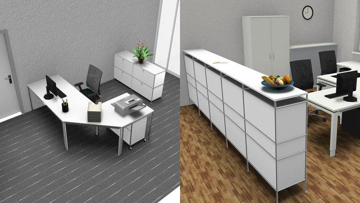 Bürolösung Einrichtungslösung mit Aktenschrank und Thekenlösung Bueromoebel Metall Schreibtisch Winkelkombination mit Sideboard Bueromoebel Metall und Metall Klapptueren