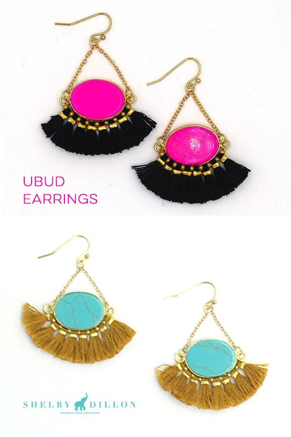 SHOP COLORFUL EARRINGS by Shelby Dillon Studios. These colorful tassel earrings are a fun accessory for a little black dress, party outfit, girls night out style, or beach look. They come in gold with Pink, Black, Turquoise and other neon styles.