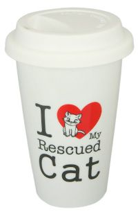 I Love My Rescued Cat Ceramic Travel Mug at The Animal Rescue Site
