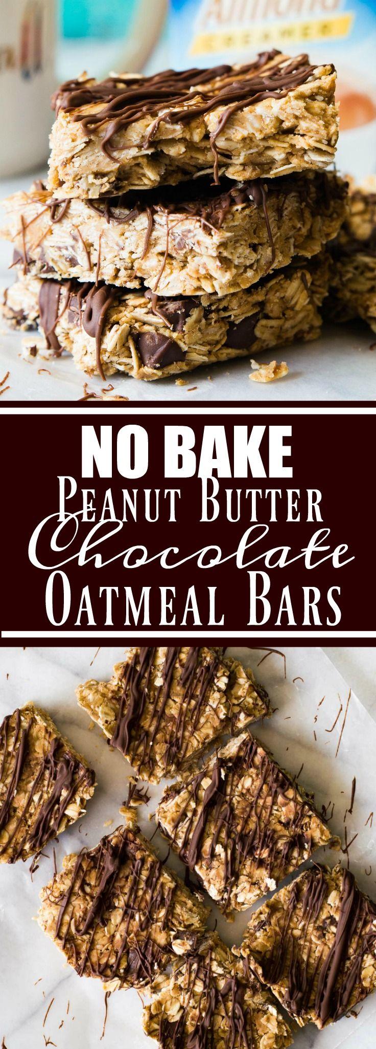 {No Bake} Peanut Butter Chocolate Oatmeal Bars