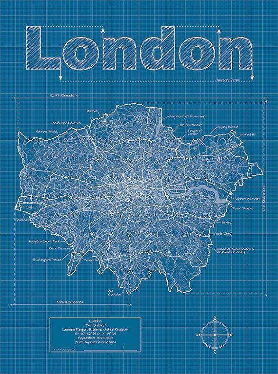 London Artistic Blueprint Map maphazardly etsy