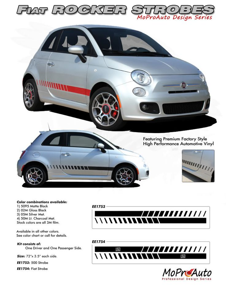 """2011 2012 2013 2014 SE 5 ROCKER STROBES : Fiat 500 Vinyl Graphics Kit Vinyl Graphics Decals Striping Kit """"Factory OEM Style"""" with Professional Automotive Vinyl at a Discount Price!"""