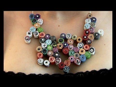 Paper necklace - Collier en papier - YouTube