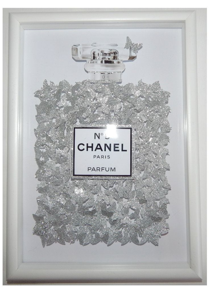 Glitter picture Chanel no 5 with 100's of silver glitter butterflies, Bespoke by Flutterframes on Etsy