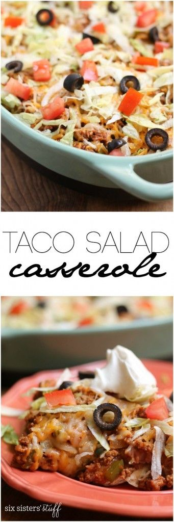 This Taco Salad Casserole only takes 20 minutes from start to finish! Recipe on Six Sisters' Stuff