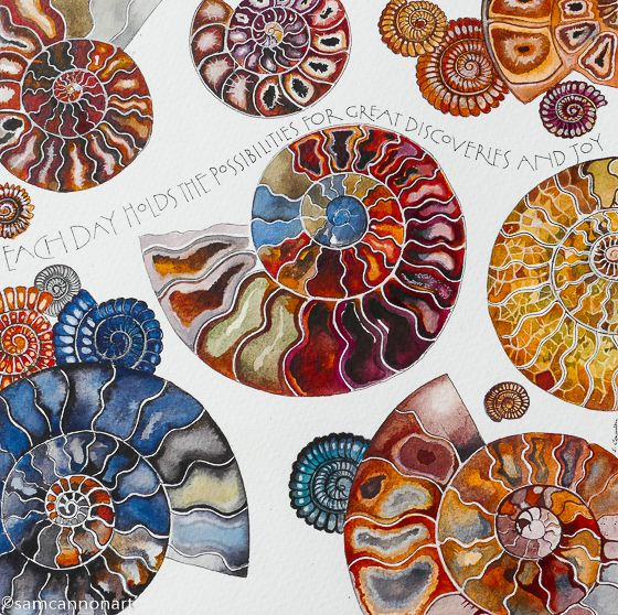Each day (fossils) 20cm by 20cm Watercolours with pen for the lettering