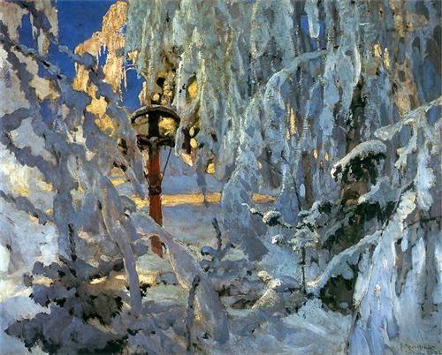 Krzyż w śniegu - Ferdynand Ruszczyc - WikiPaintings.org