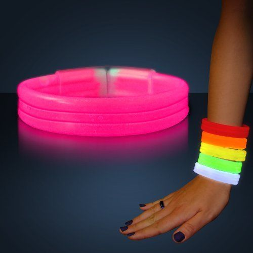 Glow bracelets in pink. 20 all together, so we can divide them up to wear out.