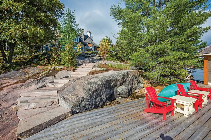 Muskoka Rock Company's oversized stair treads are cut to uniform height for a safe descent to the dock.