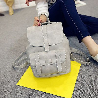 Solid Vintage Women Backpacks For Girls College Bags, School Bags PU Leather