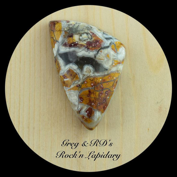 -SOLD-  Jacalitos Brecciated Jasper Cab by Greg.  36.5mm x 25.3mm x 6.9mm   Natural hand cut stone, polished back, Girdle angles in slightly towards the top dome making it great for a tight bezel fit or wire wrapping.  -SOLD-