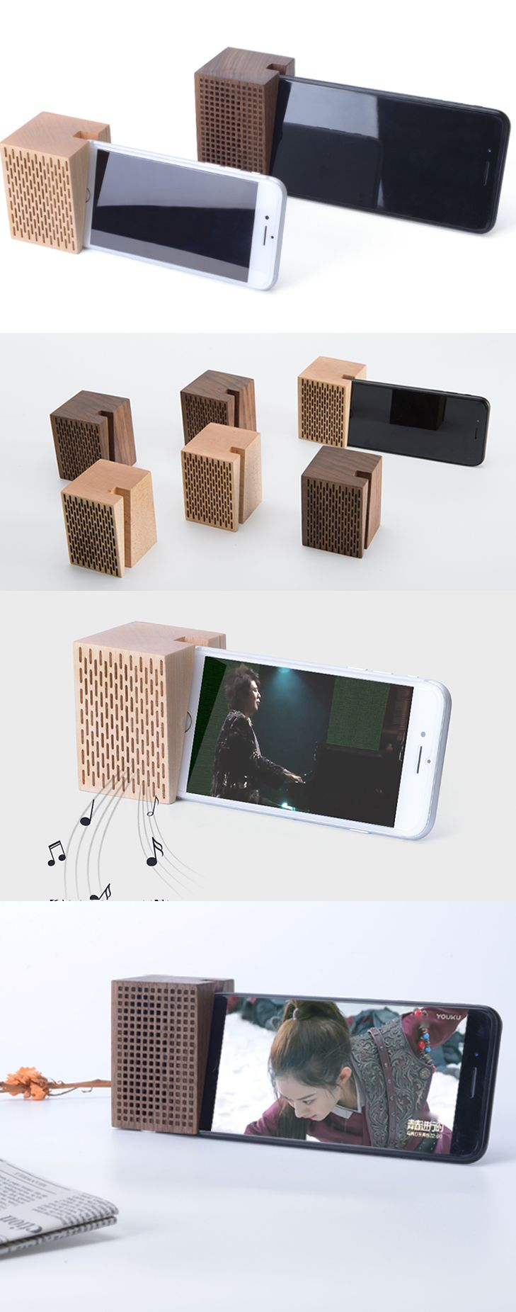 A wooden iPhone Phone SmarPhone Sound amplifier Cell Phone Charging Station Dock Mount Holder Charge Cord Cable Organizer Amplification Stands for iPhone 77 Plus6s6s Plus and other smartphones