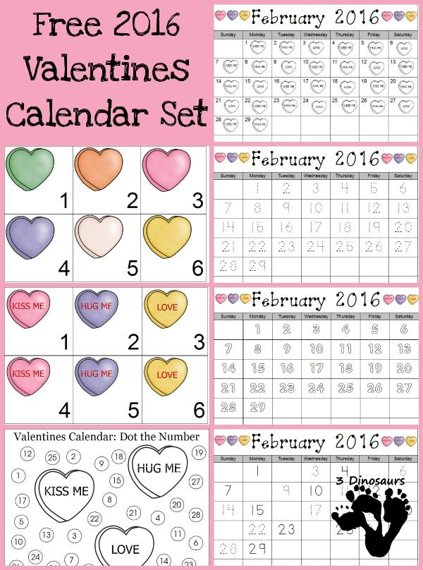 Valentine Calendar Ideas : Free valentines calendar printable card