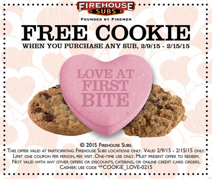 Pinned February 10th: Free cookie with your sub at #Firehouse Subs #coupon via The #Coupons App