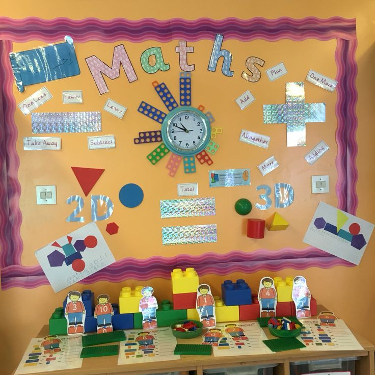 EYFS Maths display. Numecon clock. Interactive Lego addition and subtraction.