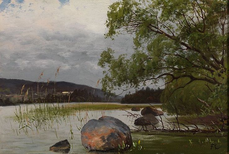 Shore Landscape, Churberg, Fanny (1845 - 1892) - When she was 20 her father died and Fanny and her brothers moved to Helsinki where they lived with their aunt.Fanny herited a lot of property and she started her artistic training in Helsinki in 1865 with private lessons from Alexandra Frosterus-Såltin, Emma Gyldén and Berndt Adolf Lindholm.
