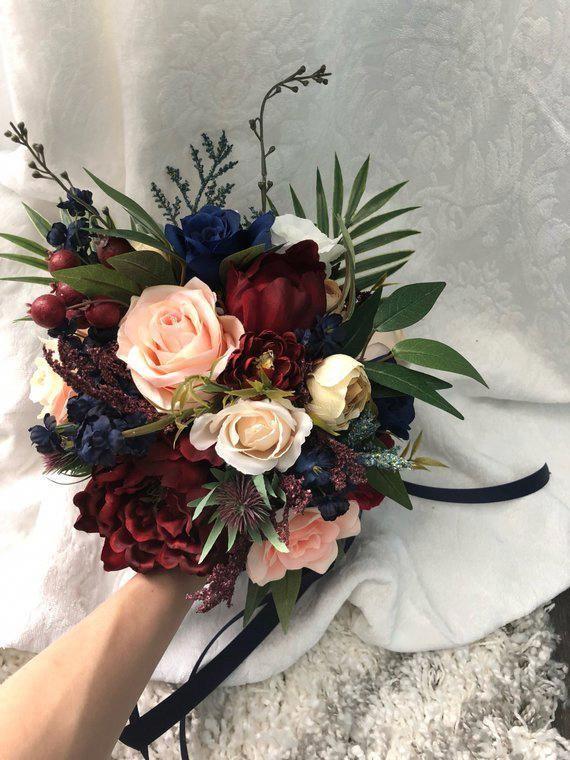 Ramo de novia Borgoña Azul marino Rojo Peonía Eucalipto Castaño de novia …