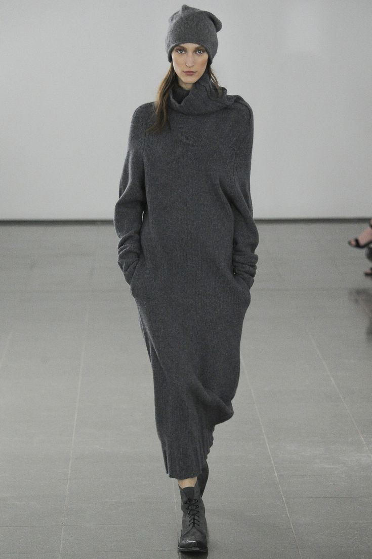 Dark grey long knitted dress by Joseph. Fall 2014.