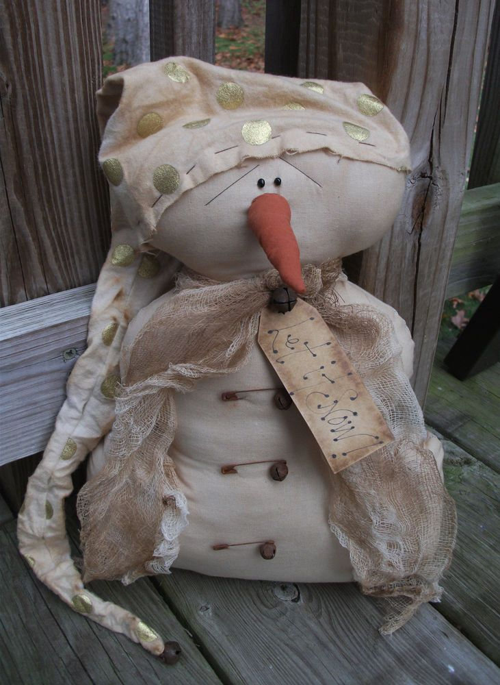Folk Art PrimiTive ChrisTmas WinTer GrunGy SNOWMAN DOLL Door GreeTer Decoration #NaivePrimitive #MelissaHarmon
