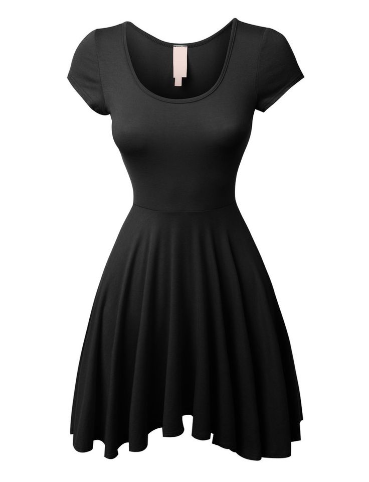 LE3NO Womens Casual Short Sleeve Fit and Flare Asymmetrical Skater Dress
