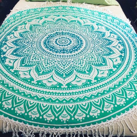 Green ombre round beach towel picnic by TheFoxAndTheMermaid.  We love these here at Scentstore. We have a feeling they are going to be a holiday essential for many in the up and coming summer of 2016.