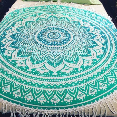 Green Ombre Mandala Tapestry Round Beach Blanket Picnic