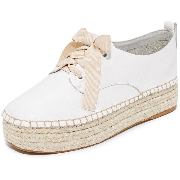 Sol Sana Mannie Espadrille Platform Sneakers (2.506.345 IDR) ❤ liked on Polyvore featuring shoes, sneakers, white, white leather shoes, white lace up espadrilles, white sneakers, white platform sneakers and white platform shoes