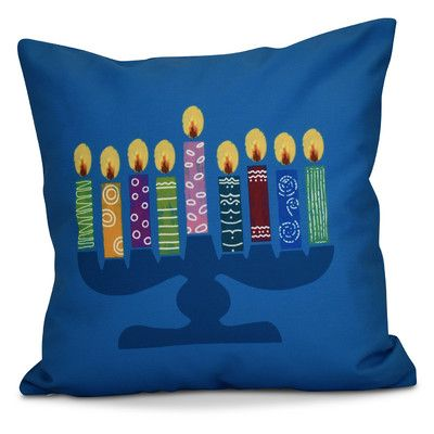 "The Holiday Aisle Hanukkah 2016 Decorative Holiday Geometric Throw Pillow Size: 20"" H x 20"" W x 2"" D, Color: Teal"