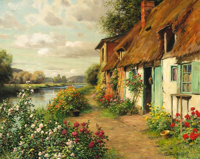 Louis Aston Knight (1873 - 1948) was the son of the American artist Daniel Ridgway. He was born in Paris and attended the Chigwell School in England. Later he became famous in the USA. Even President Harding purchased Aston Knight's painting entitled The Afterglow, to hang in the White House.