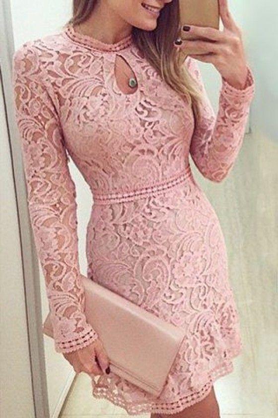 Pink Plain Hollow-out Sweet Lace Mini Dress