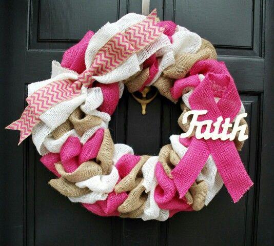 "23"" breast cancer awareness burlap wreath"