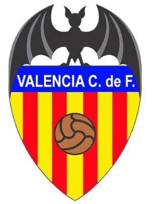 Escudo Valencia de Futbol, con un murciélago en lo alto