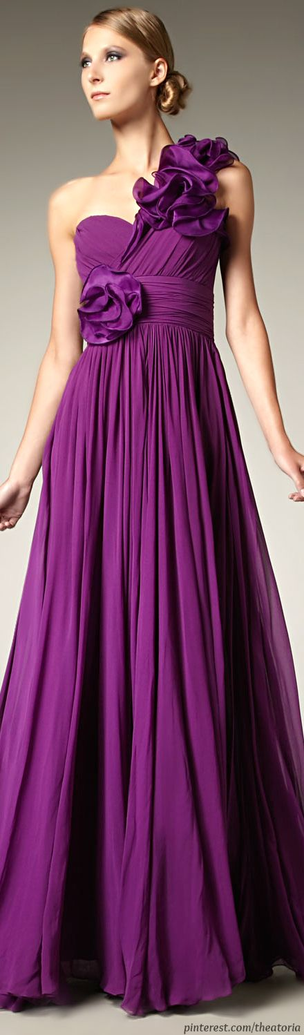 Notte By Marchesa ● Purple One shoulder  Gown
