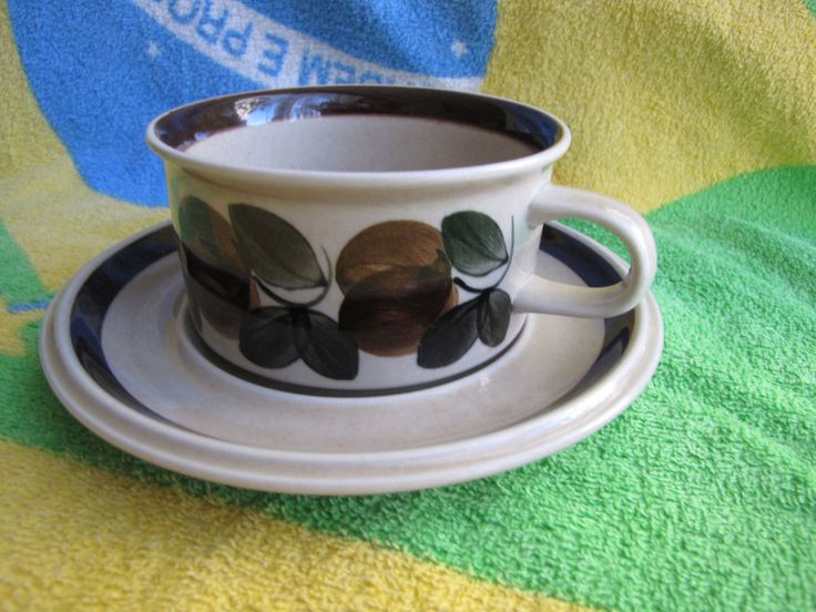 Finland ARABIA tea pair cup saucer plate Ruija Decor Raija Uosikkinen proof #ArabiaRuija