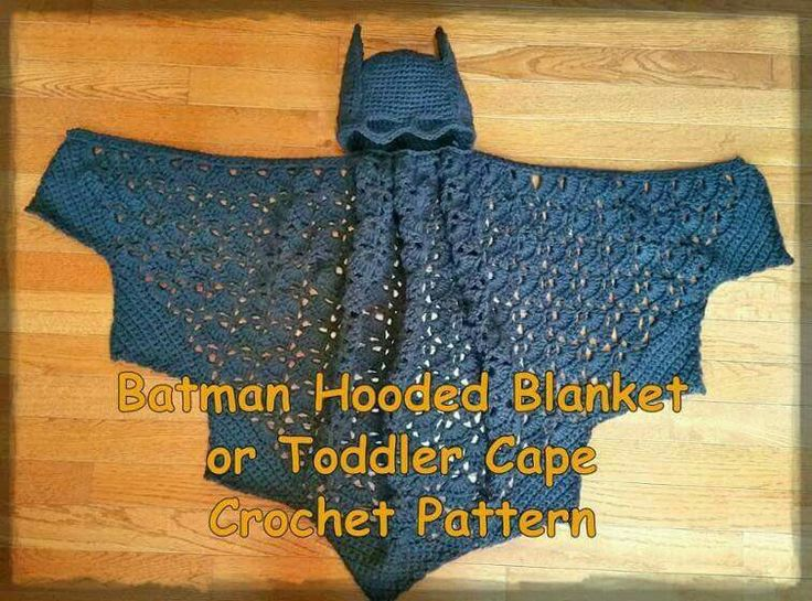 BATMAN CROCHET CAPE https://www.craftsy.com/crocheting/patterns/batman-hooded-blanket-or-toddler-cape-crochet-patt/464612