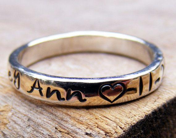 personalized name ring stackable handstamped mother 39 s. Black Bedroom Furniture Sets. Home Design Ideas