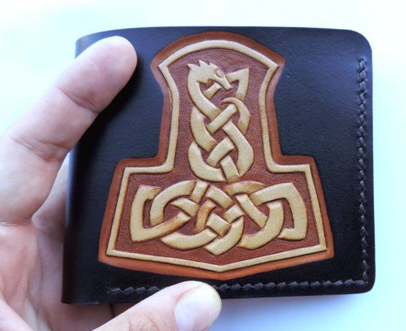 Bifold leather wallet handmade tooled by ProperLeatherStudio