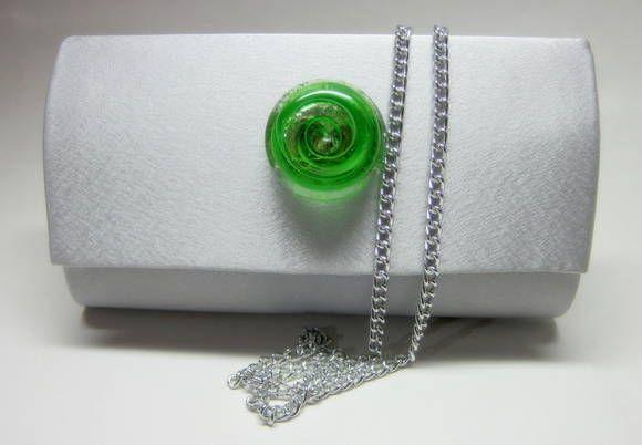 Carteira feminina / Clutch Cetim Prata Fecho de Vidro tons de  verde com corrente prata opcional