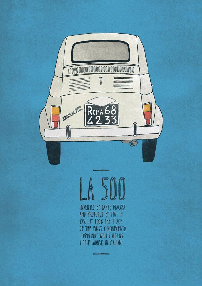 The Italian Inventions posters by Emily Isles. Click for L'Ape, La Vespa, La Lettera 22 and la 500.
