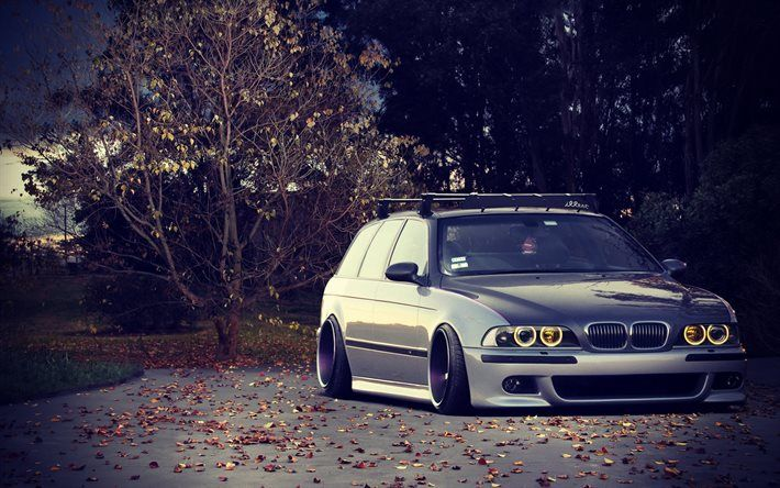 low rider, BMW 5-series, wagon, E39, tuning, stance, gray bmw