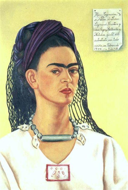 Self Portrait by Frida Kahlo, 1940. Image courtesy of: http://www.friendsofart.net