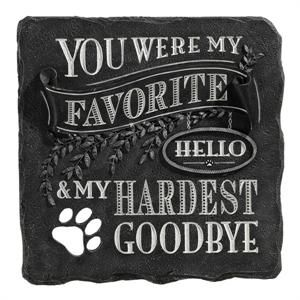 "I absolutely love this pet memorial stone...""You were my favorite hello and my hardest goodbye"". For all pet lovers who have lost the unconditional love of a furry friend..this I for you:)"
