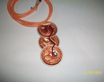 Diamantes de imitación y colgante naranja cápsula nespresso cable alu rojo