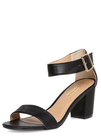 Sandales noires à talons carrés
