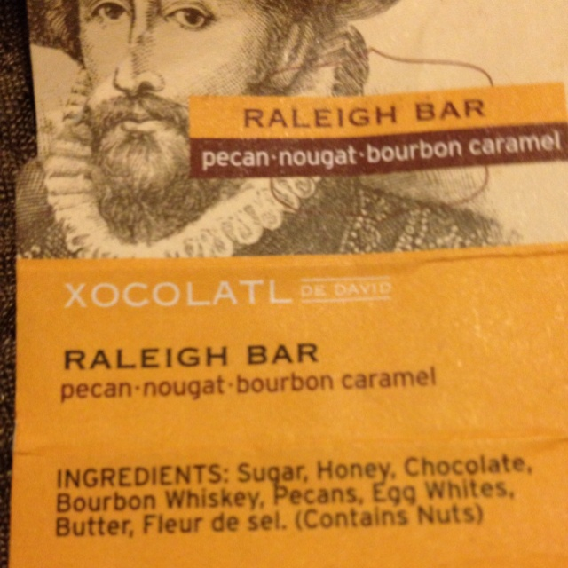 I tore into this candy bar! I mean, come in, it says pecan nougat bourbon caramel! It seriously IS as good as it sounds. Got this an extra in my Fiodzie.cim delivery in January. Made in Portland. Www.xocalatldedavid.com