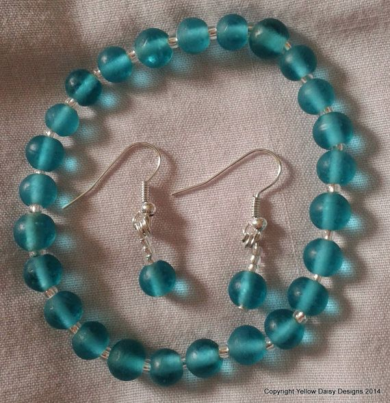 Check out our Etsy listing at https://www.etsy.com/listing/190332513/turquoise-glass-bracelet-with-matching