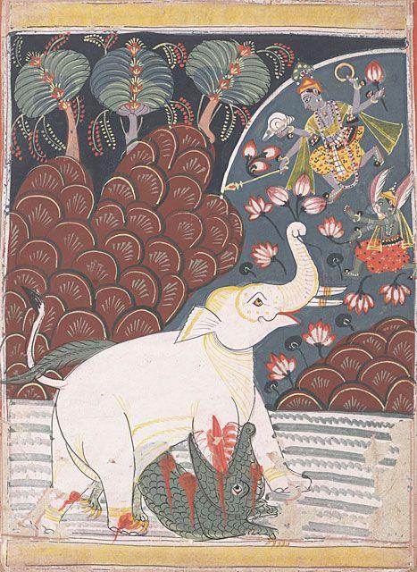 Vishnu and Garuda Save the King of the Elephants (Gajendra Maksha) 1660 - 1670 : UC Berkeley, Berkeley Art Museum/Pacific Film Archive