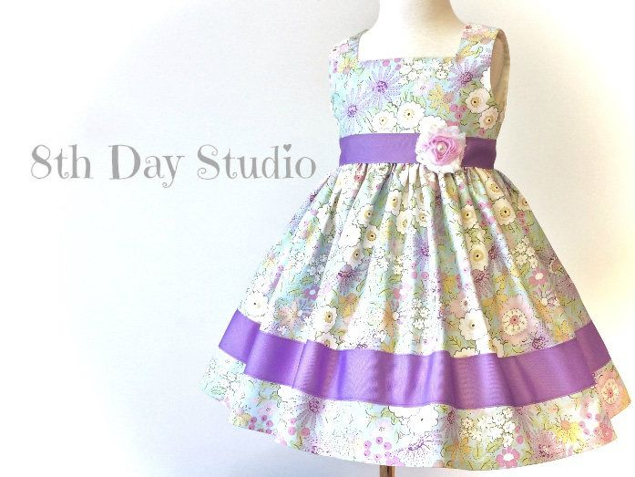 Toddler Easter Dress, Girls Easter Dress, Purple and Pink Floral, Church, Wedding, Special Occasions, Sizes 2T - 6 by 8th Day Studio by 8thDayStudio on Etsy