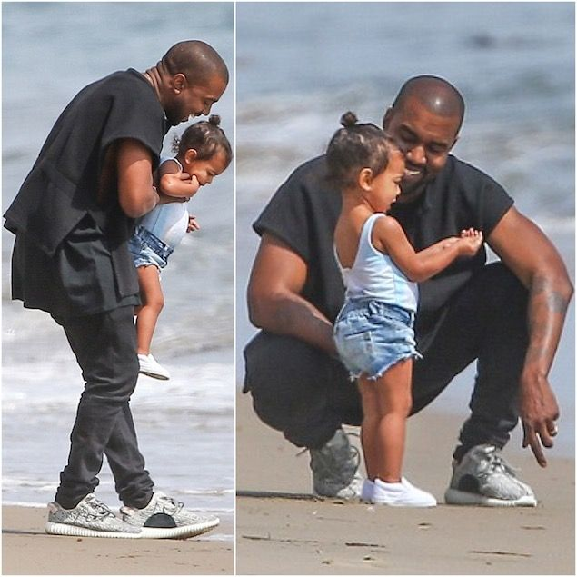 Kanye West Wears Adidas Yeezy Boost Low-top Sneakers at Malibu Beach with  North