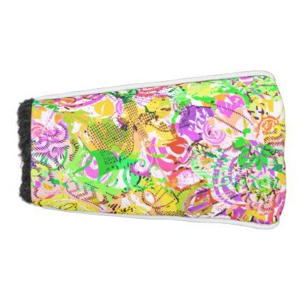 Cute colorful spring abstract floral golf head cover - floral style flower flowers stylish diy personalize